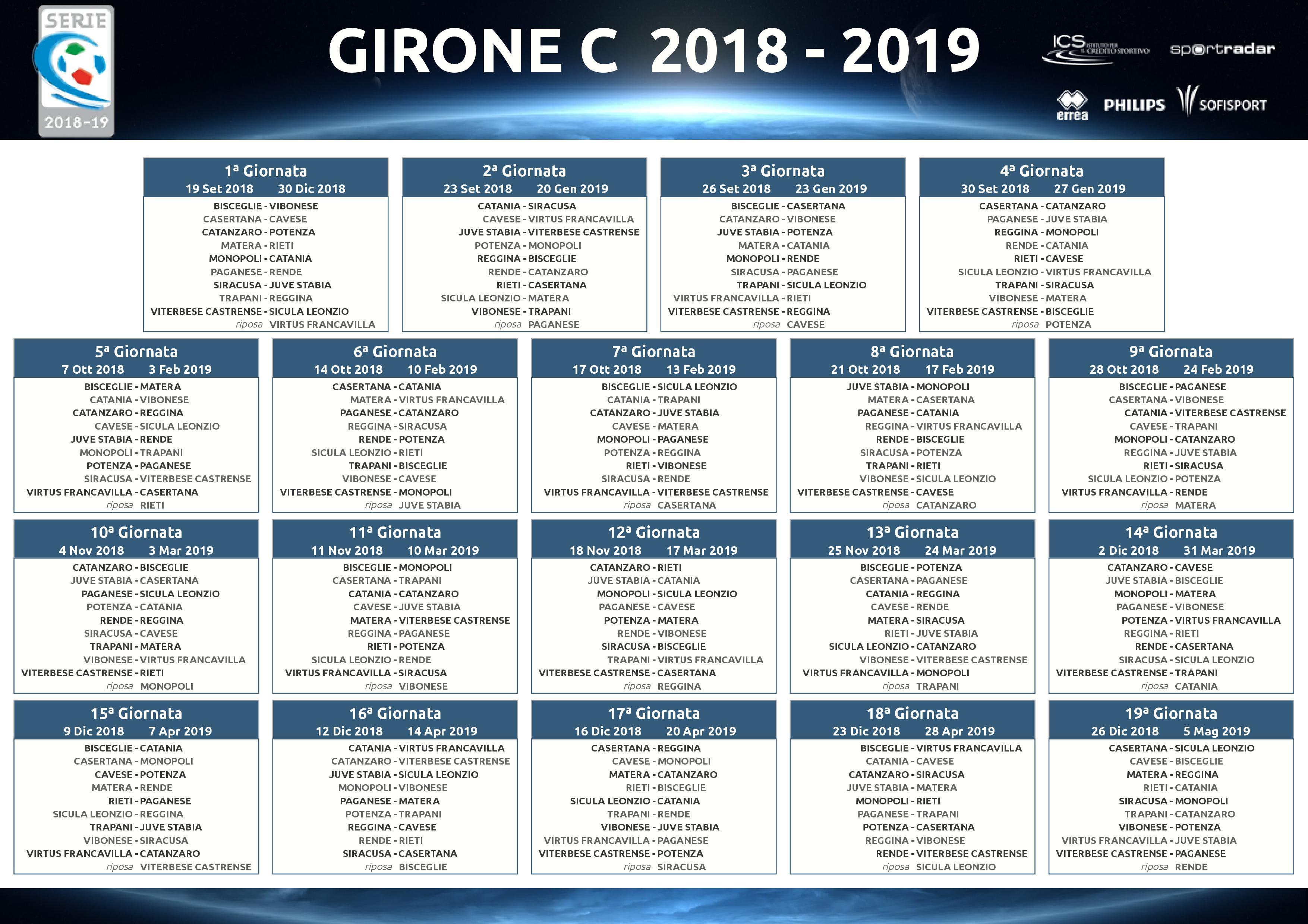 Calendario E Classifica Serie C Girone C.Calendario Serie C Girone C Calendario 2020